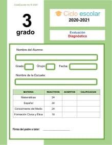 Examen diagnóstico Tercer grado 2020-2021