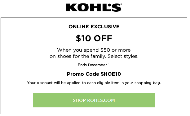 kohls online coupons shoes