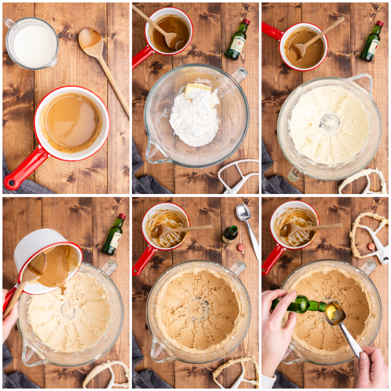 Six photos of the process of making the boozy frosting for Keto Irish Coffee Cupcakes.