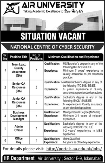 JOBS | AIR University National Centre of Cyber Security