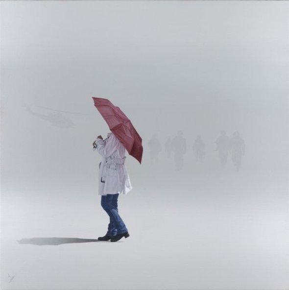 Nigel Cox pinturas a óleo hiper-realistas pessoas solitárias partindo vazio solidão