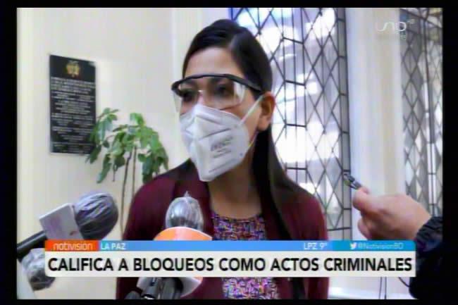 Para Shirley Franco los culpables de asesinatos por los bloqueos serían Loza, Huarachi, Luis Arce y Evo Morales