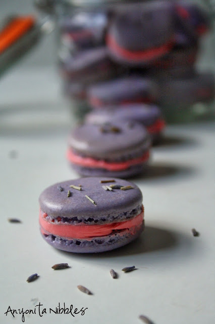 These #lavender #macarons with #rosewater #buttercream filling are easy to make from @anyonita