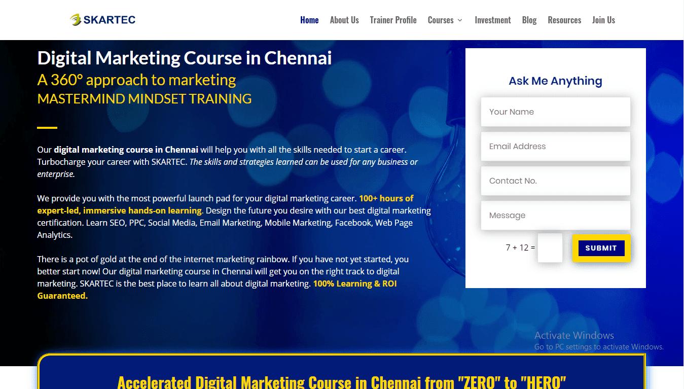 Skartec Digital Marketing Training Institute in Chennai Amudhakumar