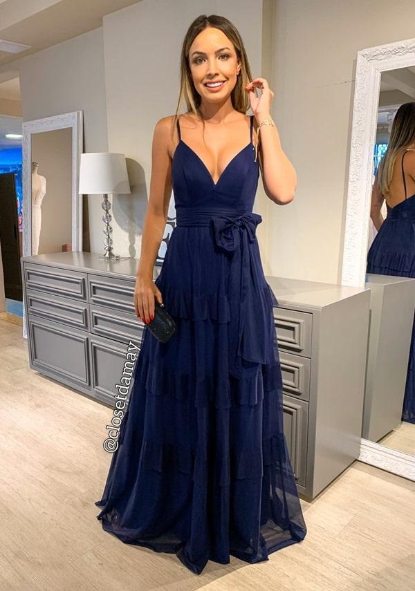 vestido de festa azul marinho para madrinha de casamento