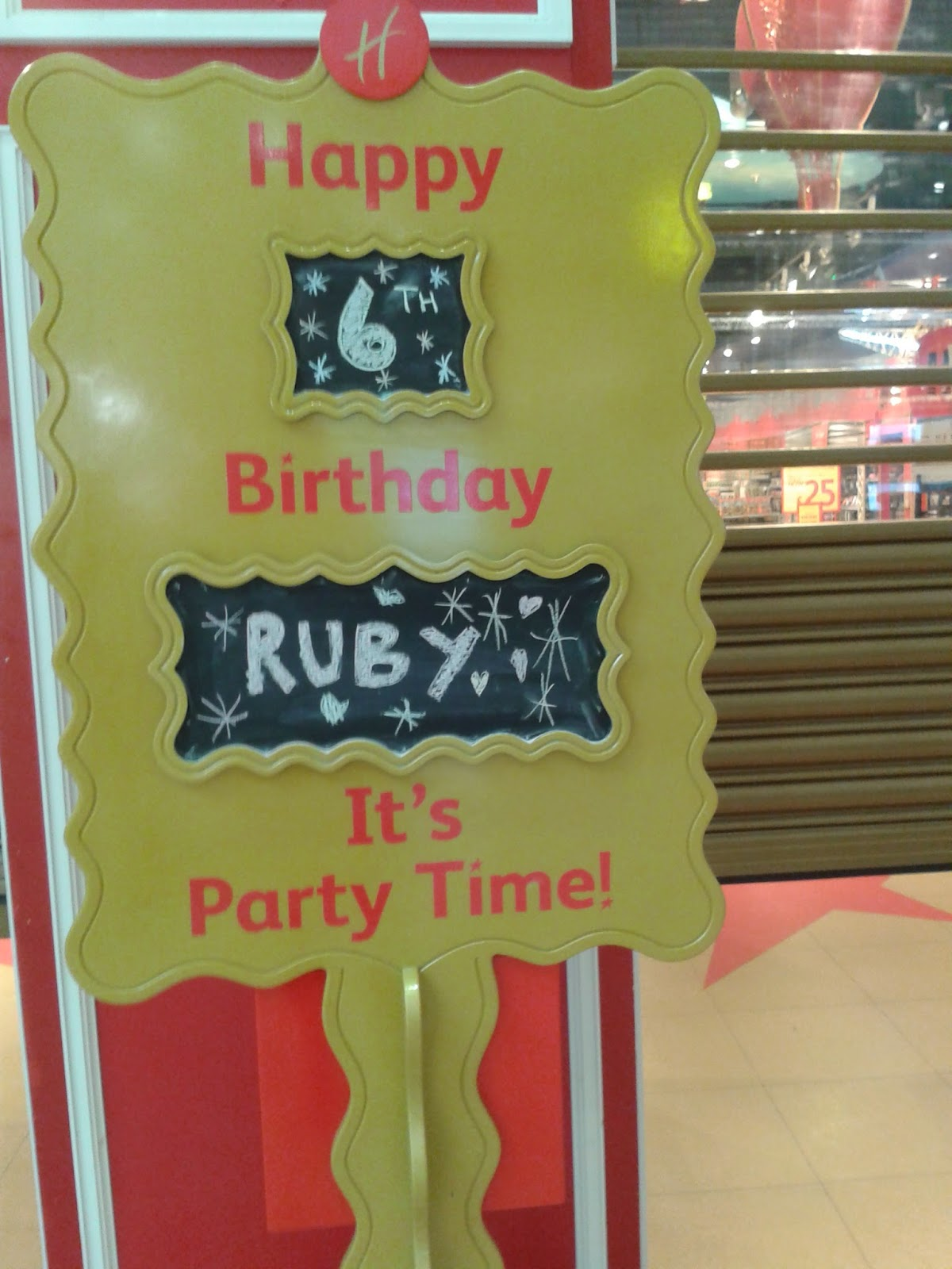 Happy Birthday sign outside Hamleys Toy Store Cardiff