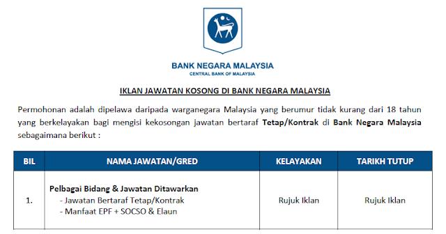 jawatan kosong bank negara