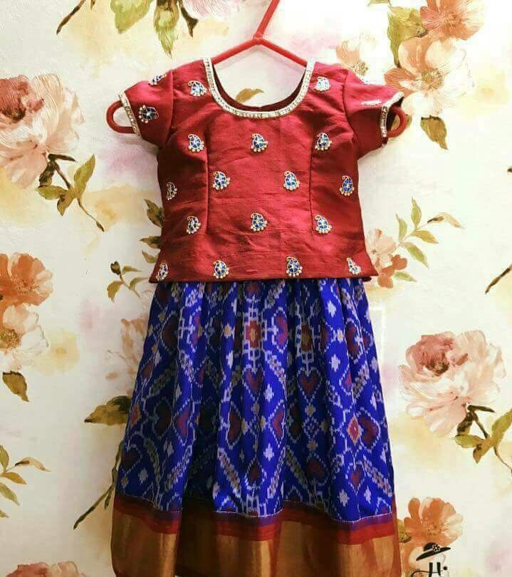 Blue Ikkat Lehenga Red Blouse