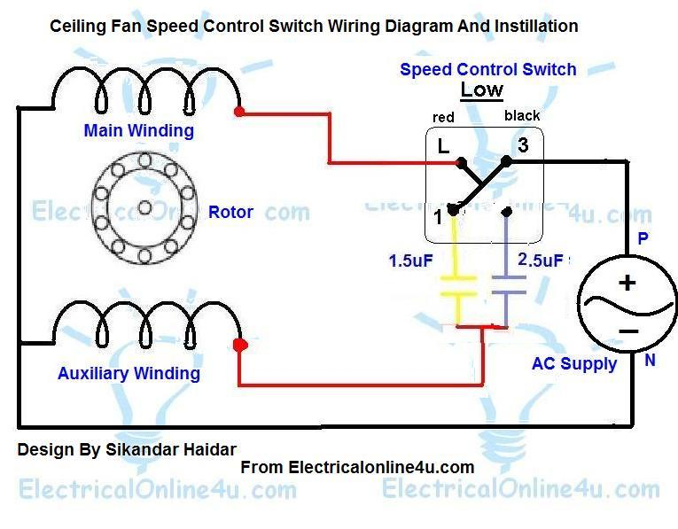 Ceiling Fan Speed Control Switch Wiring Diagram - Electricalonline4u | Hvac Fan Control Wiring Diagrams |  | Electricalonline4u