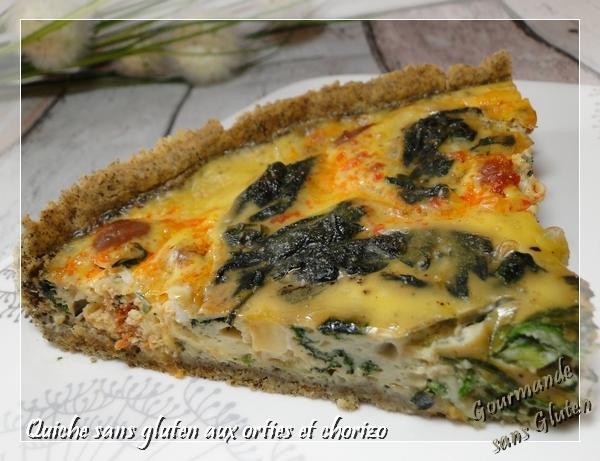 Quiche sans gluten, aux orties et chorizo