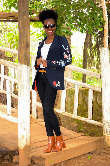 Wearing An Embroidered Women's Blazer With Patent Leather Boots
