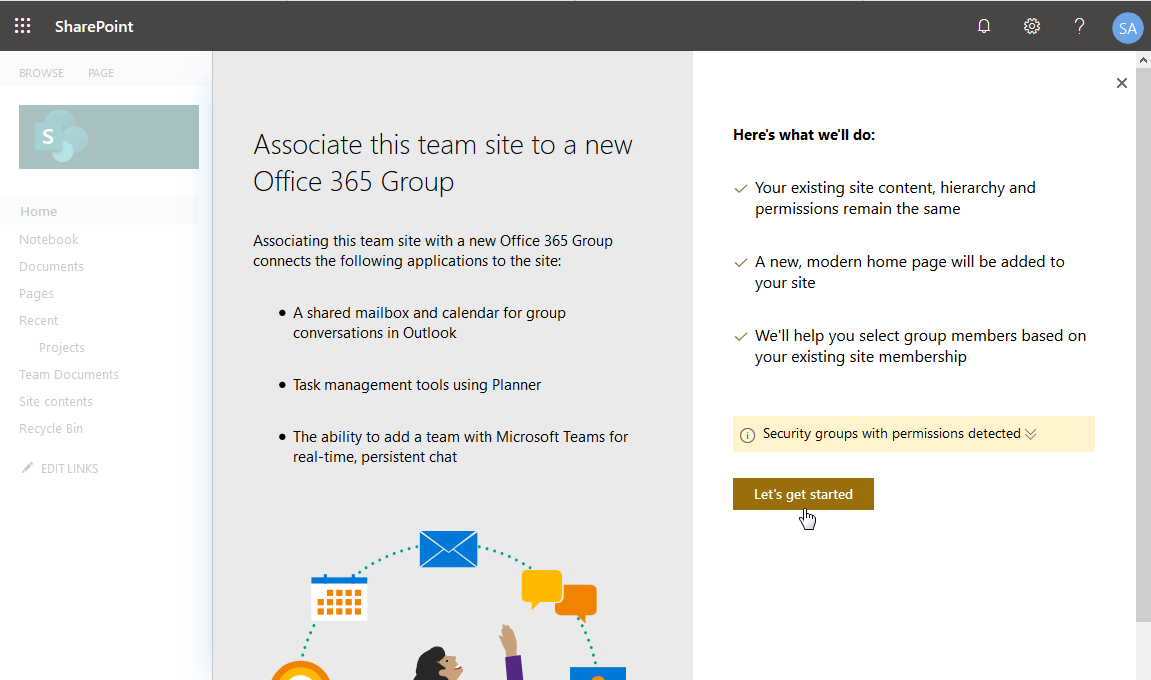 sharepoint online convert classic team site to modern
