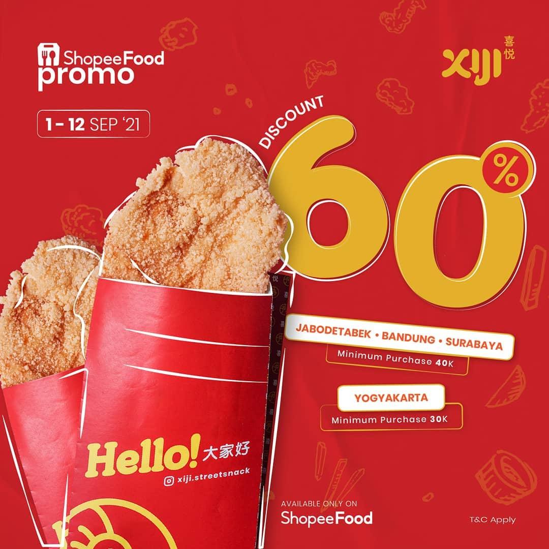 Promo XIJI Street Snack Diskon 60% via ShopeeFood