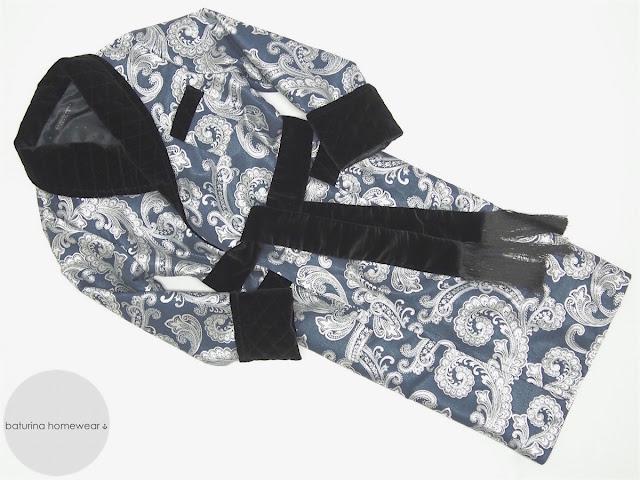 mens long dressing gown paisley silk brocade jacquard quilted velvet luxury robe full length warm heavy navy blue black english gentleman style