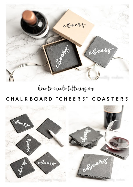 Chalkboard Style Slate Coasters with Lettering Tutorial |How to create chalkboard look lettering on slate coasters with a white paint marker.  These make a lovely and personalized gift for your host/hostess, teacher or as a housewarming gift. | personallyandrea.com