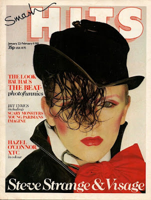 Steve Strange on the cover of Smash Hits in Jan 1981