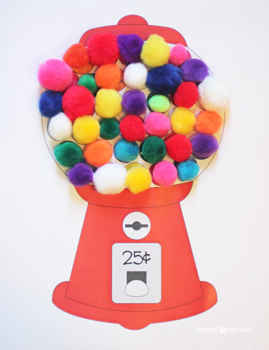 Free coloring page gumball machine - Gumball Machine Color Matching With Craft Pom Poms