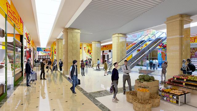 Siêu thị mua sắm lớn với đầy đủ hàng hóa và các nhãn hiệu nổi tiếng