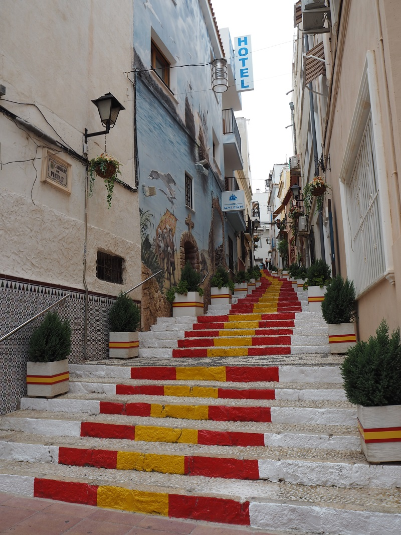 Red and yellow Spanish steps of Calpe