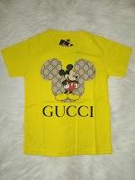 Kaos Anak Gucci dan Distro 1-8 Tahun Warna Kuning Bahan Katun Kombad