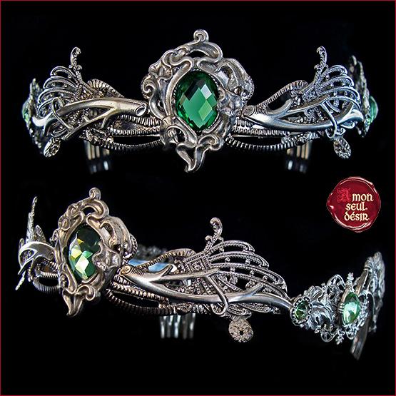 couronne elfique nymphe esprit de la foret diademe dryade wicca pagan tiare