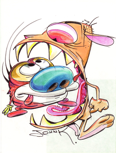 Ren Yells at Stimpy Marker Prismacolor