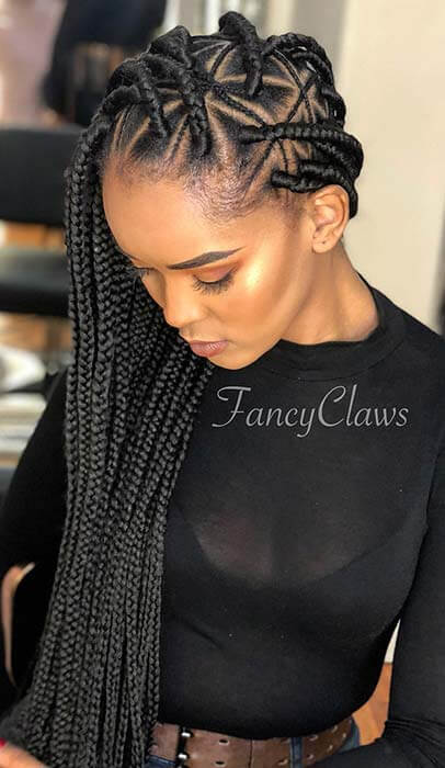 26+ Cute Triangle Braids Hairstyles For Black Women to Rock