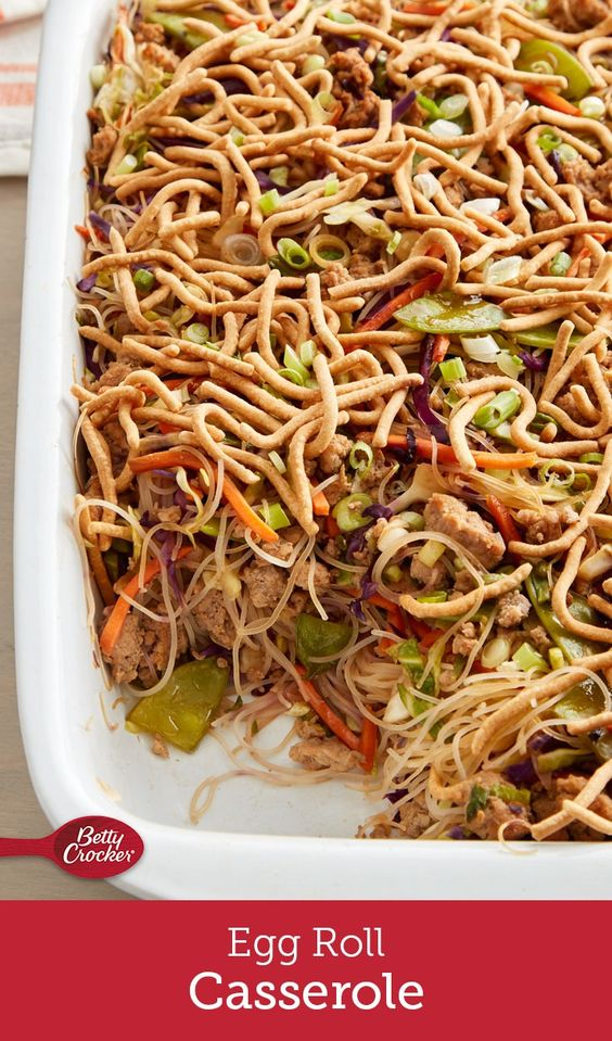 If you can't get enough egg rolls, this is the dinner for you! We've packed all of the goodness of the takeout classic—pork, ginger, cabbage, snow peas and teriyaki sauce—into easy-to-make casserole form, topped with the added crunch of Chow Mein noodles
