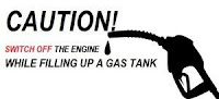 Caution! Switch off the engine up a gas tank while filling