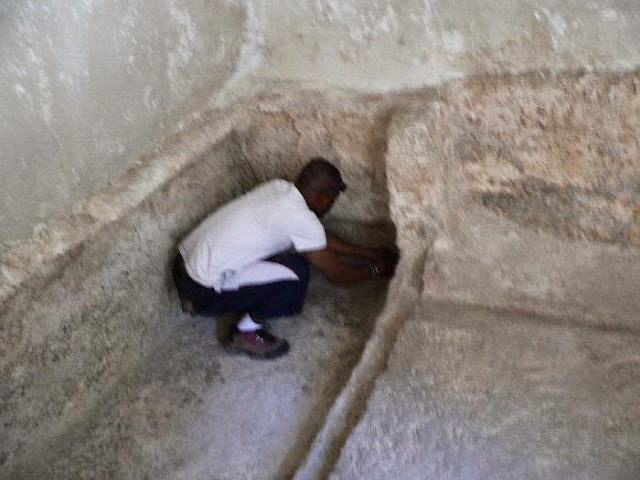 Peter from Simons team measuring the grave of Jesus in the Garden Tomb, which conforms exactly, to the HEIGHT OF THE MAN ON THE SHROUD WHICH IS ABOUT 5 FT 11.