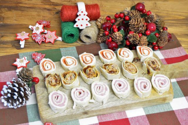 aperitivos, aperitivos enrollados, aperitivos para navidad, canapes, canapes de navidad, canapes enrollados, canapes enrollados con tortillas mexicanas, canapes fáciles, canapes frios, canapes para navidad, las delicias de mayte,