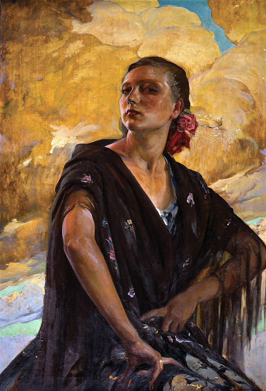Mujer con mantón, Francisco Pons Arnau, Pintor español, Pintor Valenciano, Pintura Valenciana, Impresionismo Valenciano, Retratos de Francisco Pons Arnau, Mujer Posando