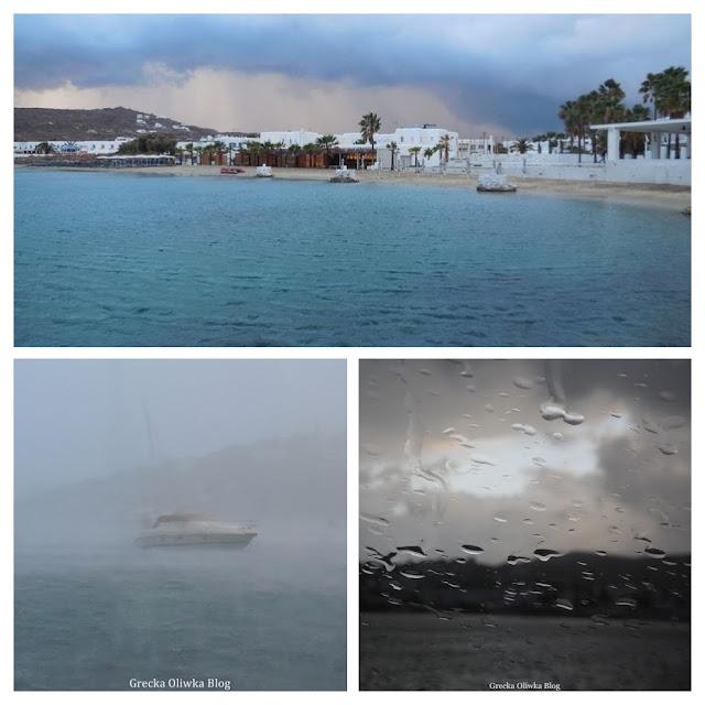 Kolaż trzech zdjęć: Plaża Ornos w czasie deszczu. Statek na morzu w czasie ulewy.