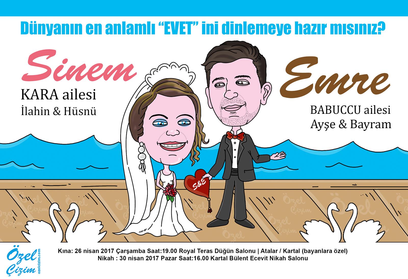 düğün davetiyesi, karikatürlü davetiye, komik davetiye, komik düğün davetiyesi, karikatürlü düğün davetiyesi, karikatür, düğün, evlilik, gelin damat karikatür, komik gelin, komik damat