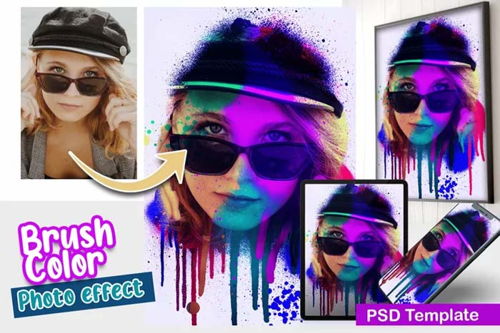 Brush Color PSD Photo Template