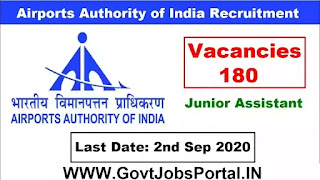 AAI Recruitment 2020  Govt Jobs for 180 Jr Assistants