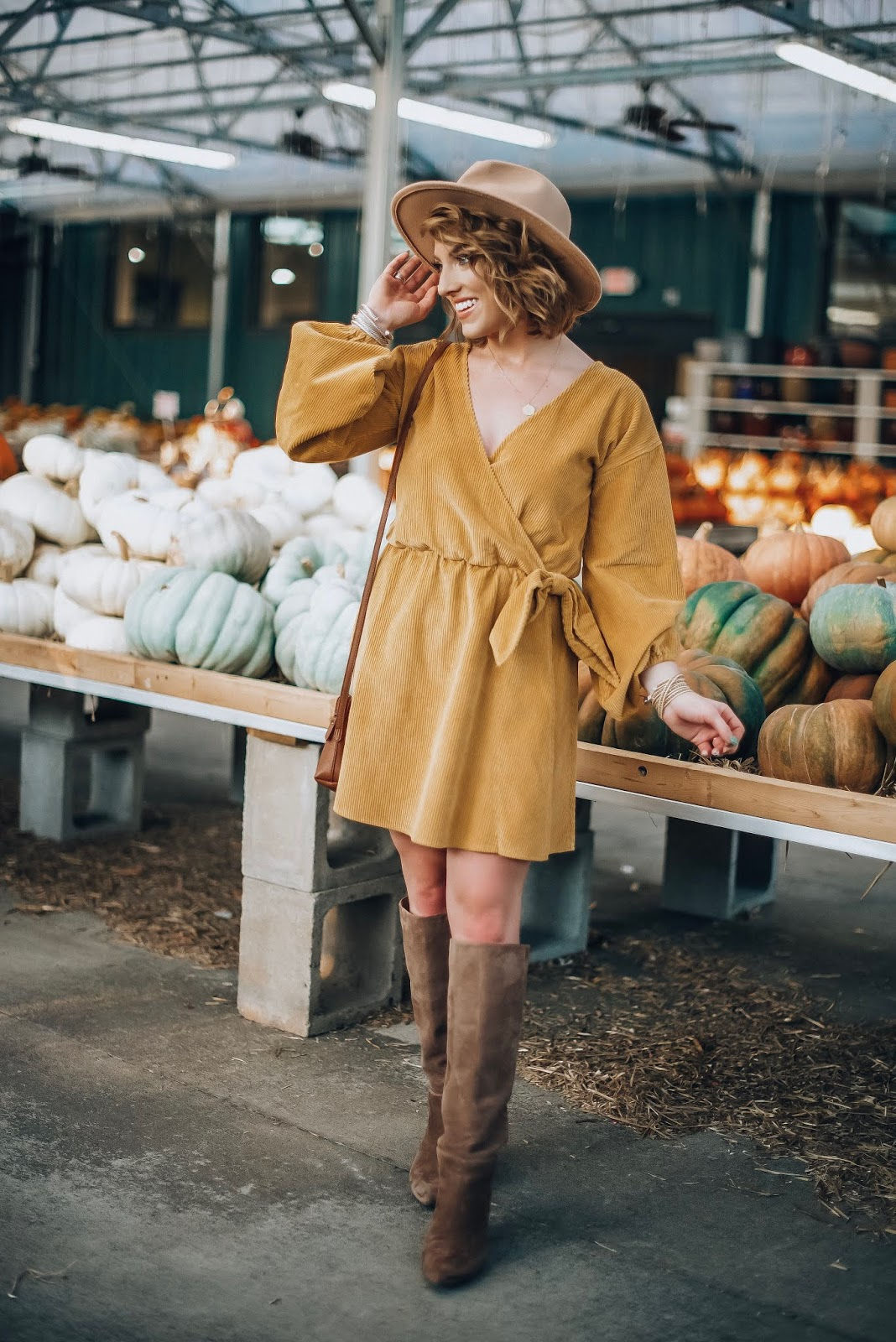 $51 Marigold Corduroy Wrap Dress + Pumpkin Shopping - Something Delightful Blog #fallstyle #pumpkins #affordablestyle