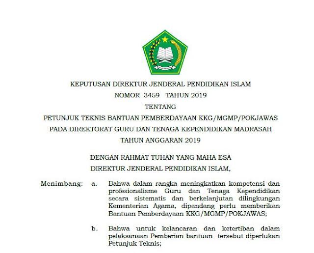(Terbaru) Juknis Bantuan Pemberdayaan KKG/MGMP/POKJAWAS Madrasah 2019