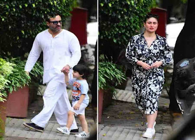 saif ali khan and kareena kapoor step out for walk with son taimur ali khan