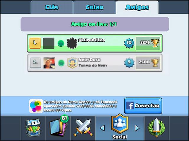 Convidar amigos batalha Clash Royale