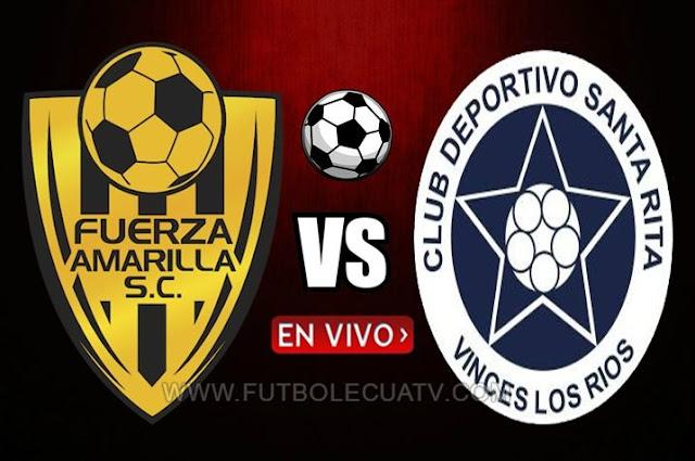 Fuerza Amarilla recibe a Santa Rita en vivo 📺 a partir de las 15:00 horario programado por la comitiva a realizarse en el Estadio nueve de mayo por los 16avos vuelta de la Copa Ecuador, siendo el árbitro principal Erik Ruiz Pérez  con transmisión oficial de El Canal del Fútbol.