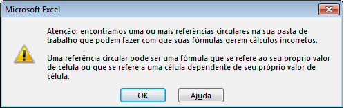 Mensagem de erro referência circular