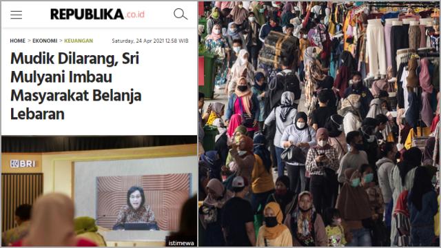 Usai Sri Mulyani Ajak Belanja, Pasar Tanah Abang Berjubel
