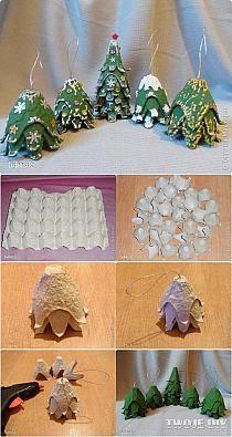 decoração natalina - artesanato com caixa de ovos