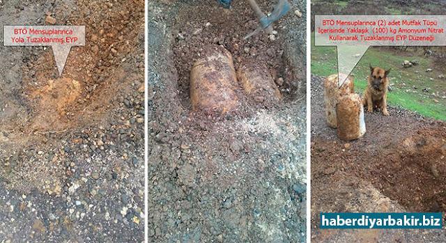 DİYARBAKIR-Diyarbakır Hazro ilçesi Koçbaba köyü mevkiinde PKK'liler tarafından karayoluna döşenen patlayıcı imha edildi.