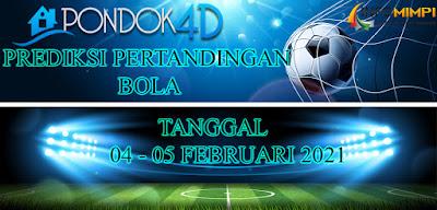 JADWAL PERTANDINGAN BOLA 04 – 05 FEBRUARI 2021