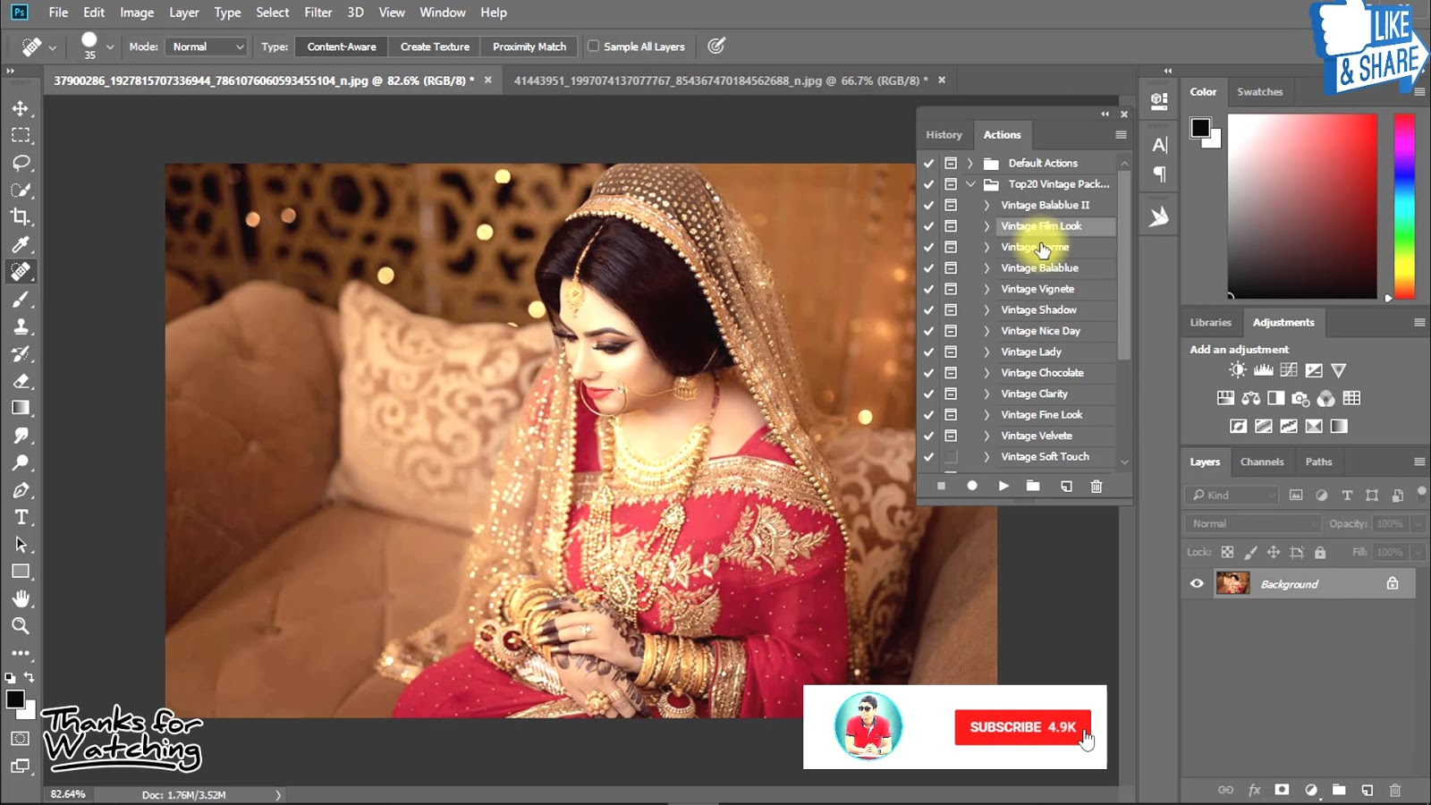 1-Click Automatic Vintage Wedding Effects Photoshop Actions Download 3