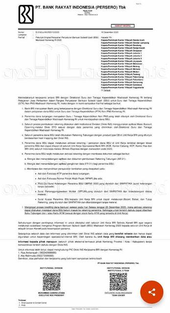 Surat Syarat Pencairan BSU
