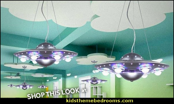 Flying Saucer Lights outer space bedroom decor space themed bedrooms