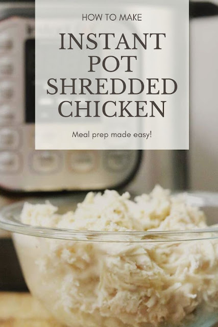 How to make shredded chicken in the Instant Pot. Use the shredded chicken for dinner or freeze for later as part of your meal prep. Use fresh, thawed, or frozen chicken to make this easy instapot chicken. Make it seasoned or plain, depending on what you're using it for. Use broth if you want or use no broth and add water.  This quick and easy recipe makes moist shredded chicken for meals. #instantpot #chicken #shreddedchicken